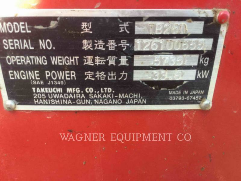 TAKEUCHI MFG. CO. LTD. TRACK EXCAVATORS TB260 equipment  photo 5