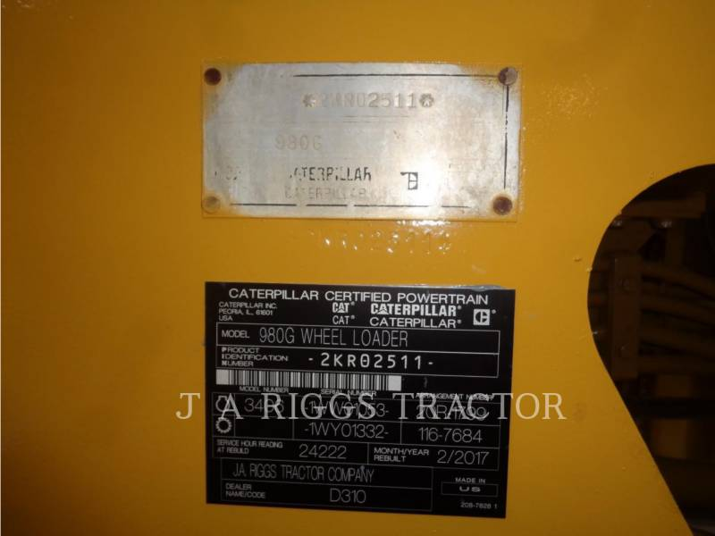 CATERPILLAR CARGADORES DE RUEDAS 980G equipment  photo 9