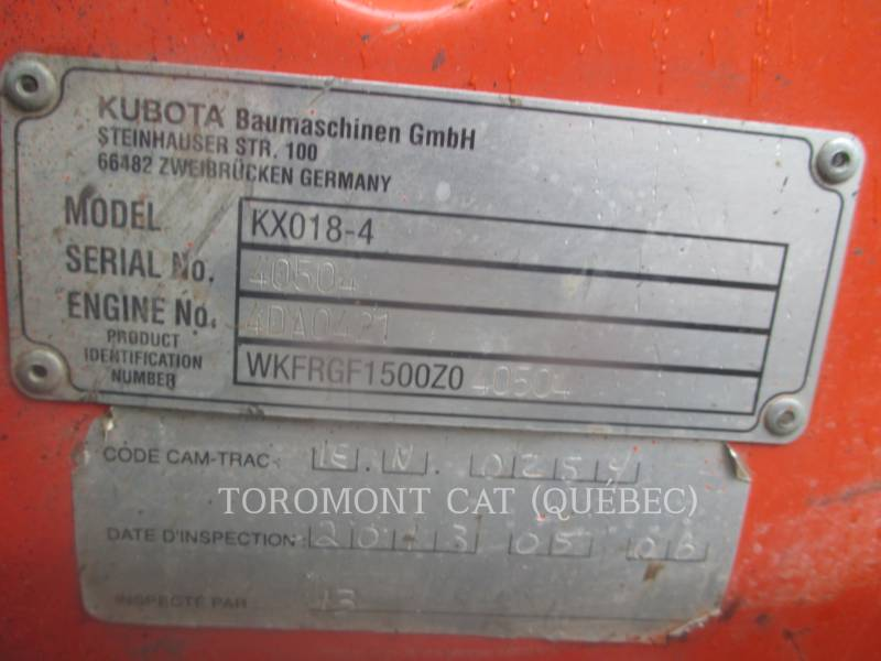 KUBOTA CORPORATION TRACK EXCAVATORS KX018-4 equipment  photo 5