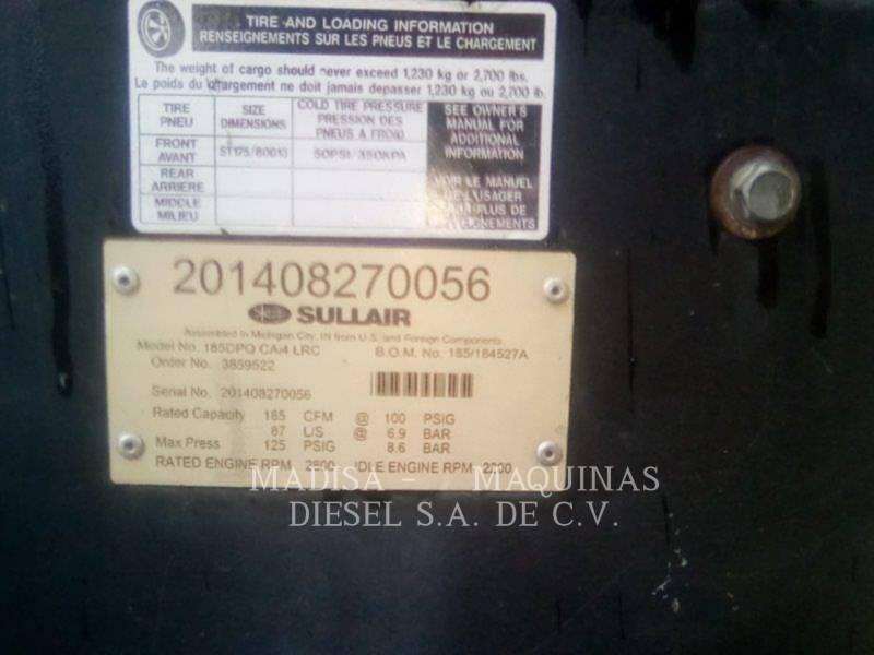 SULLAIR AIR COMPRESSOR 185DPQCAT equipment  photo 4