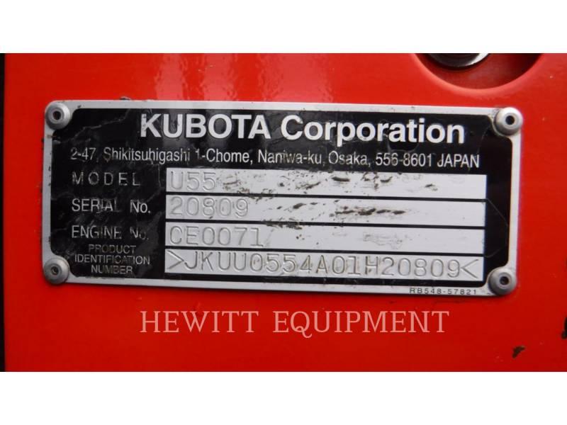 KUBOTA CANADA LTD. TRACK EXCAVATORS U55 equipment  photo 12