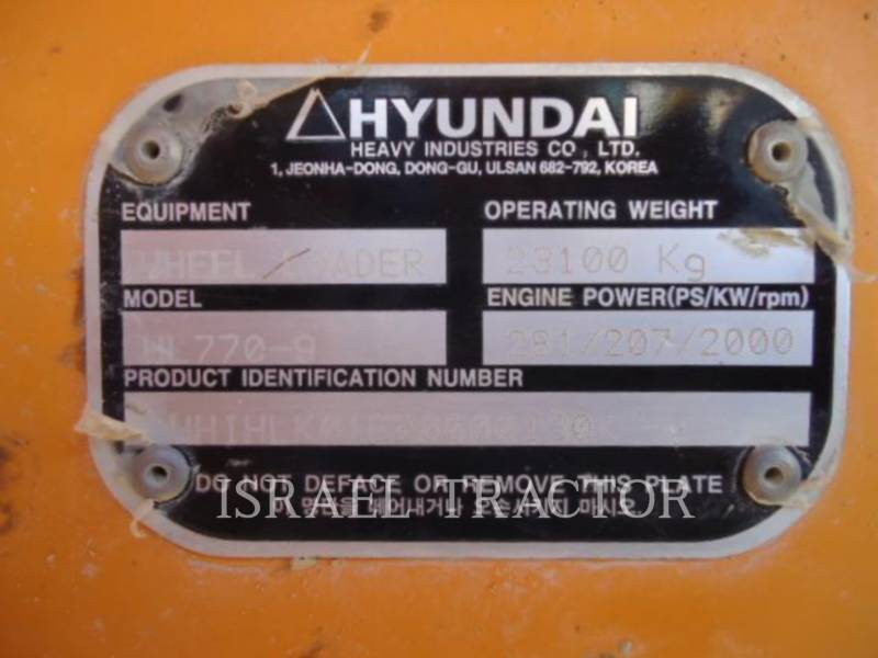 HYUNDAI CONSTRUCTION EQUIPMENT CHARGEURS SUR PNEUS/CHARGEURS INDUSTRIELS HL770-9 equipment  photo 2