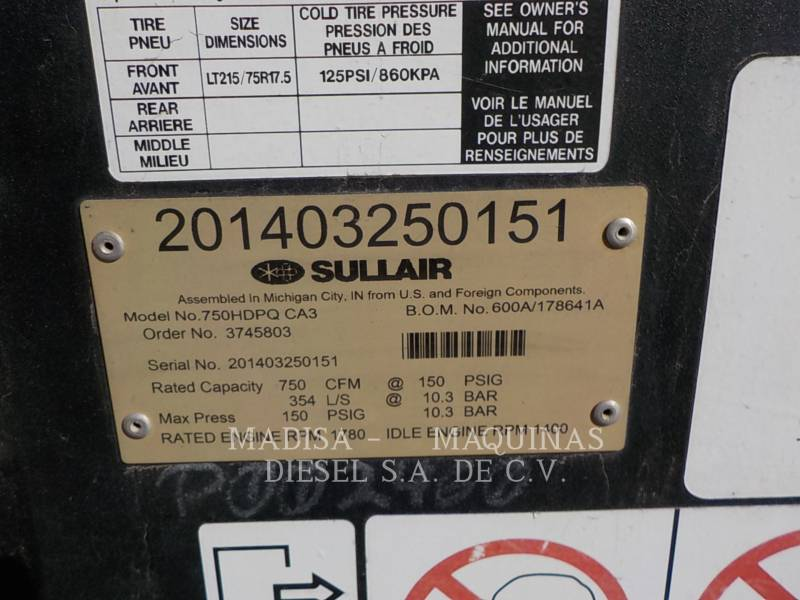 SULLAIR COMPRESOR DE AIRE (OBS) 750H DPQ   equipment  photo 6