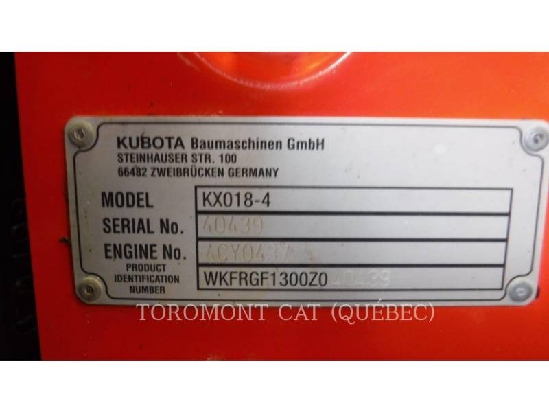 KUBOTA CANADA LTD. PELLES SUR CHAINES KX018-4 equipment  photo 17