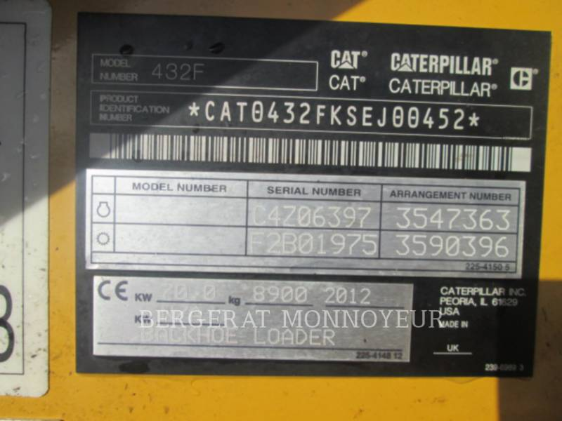 CATERPILLAR バックホーローダ 432F equipment  photo 13