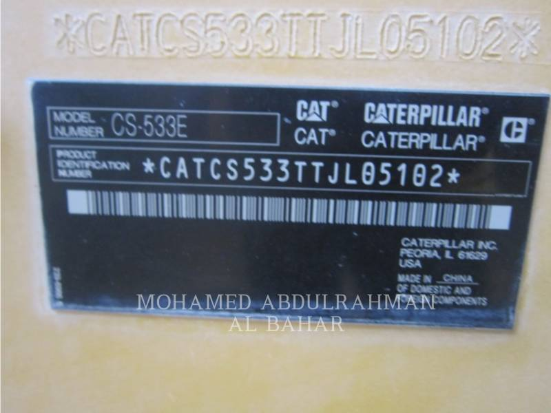 CATERPILLAR COMPACTEUR VIBRANT, MONOCYLINDRE LISSE CS 533 E equipment  photo 9