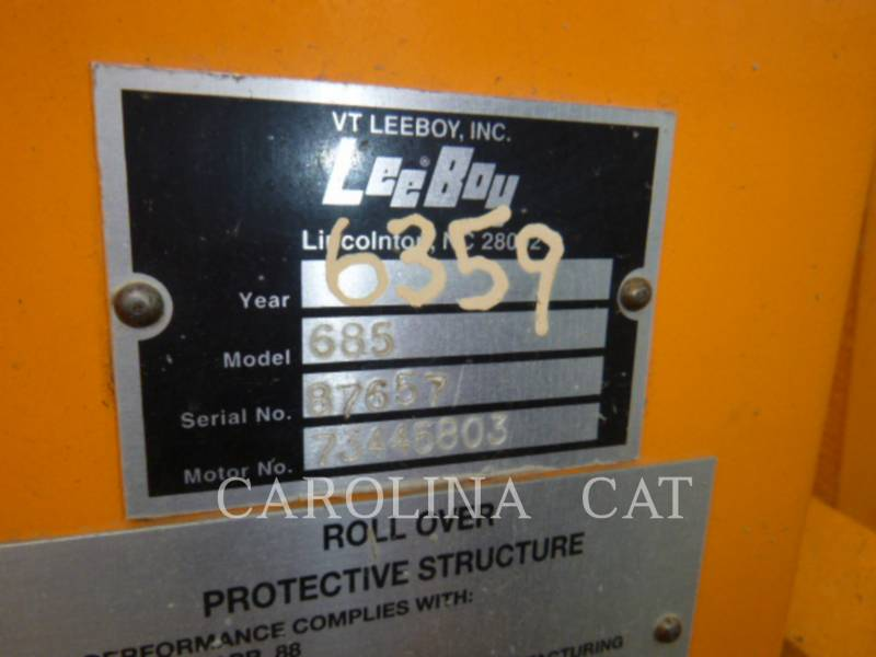 LEE-BOY MOTORGRADER 685B equipment  photo 13