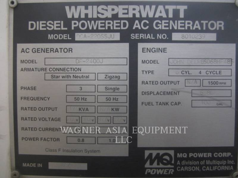 MULTIQUIP STATIONARY GENERATOR SETS DCA-220SSJU equipment  photo 2