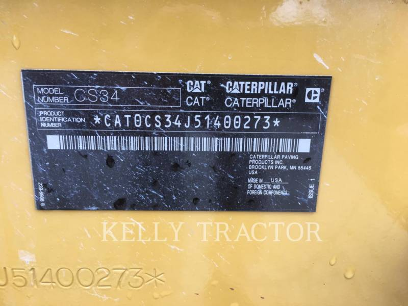 CATERPILLAR VIBRATORY SINGLE DRUM SMOOTH CS 34 equipment  photo 14