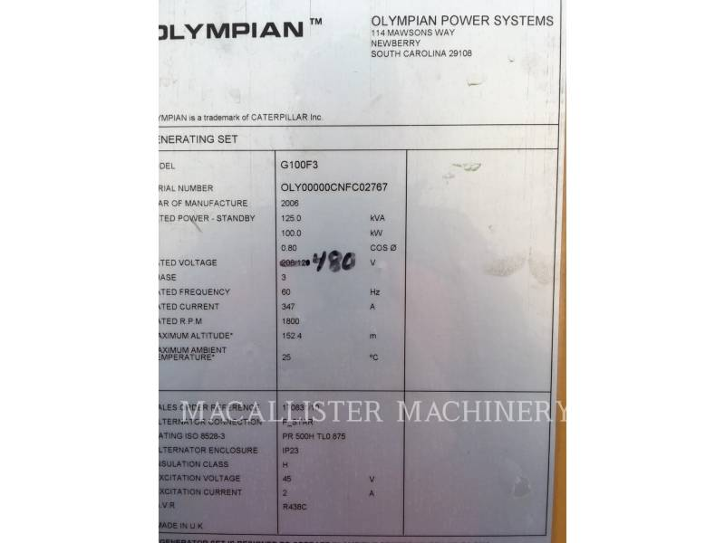 OLYMPIAN STATIONARY GENERATOR SETS G100F3 equipment  photo 7