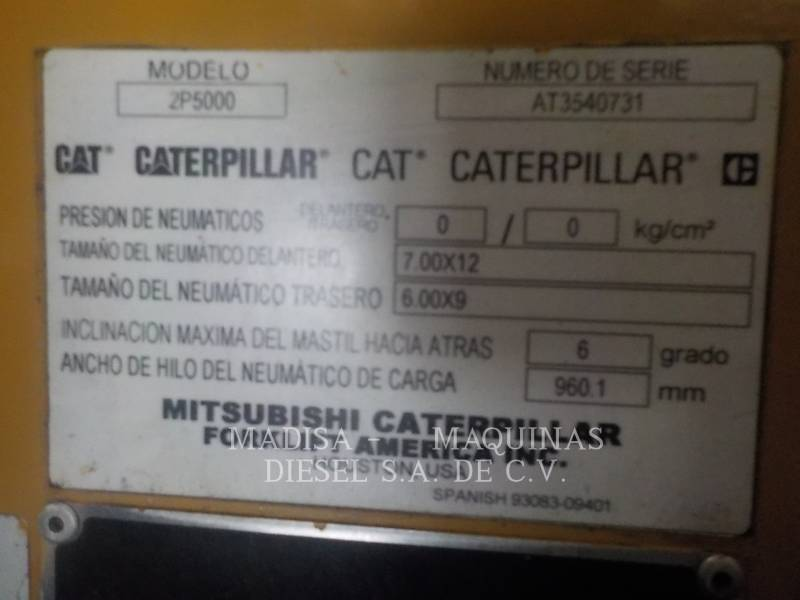 MITSUBISHI CATERPILLAR FORKLIFT MONTACARGAS 2P5000  equipment  photo 2