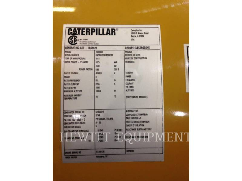 CATERPILLAR COMPONENTES DE SISTEMAS 1500KW 480 VOLTS 60HZ SR5 equipment  photo 8