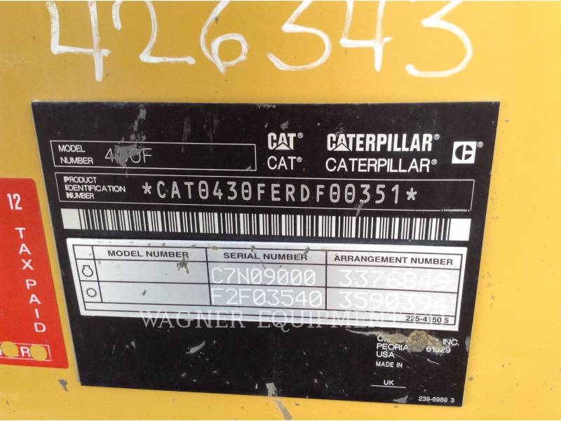 CATERPILLAR RETROEXCAVADORAS CARGADORAS 430F 4WD equipment  photo 10