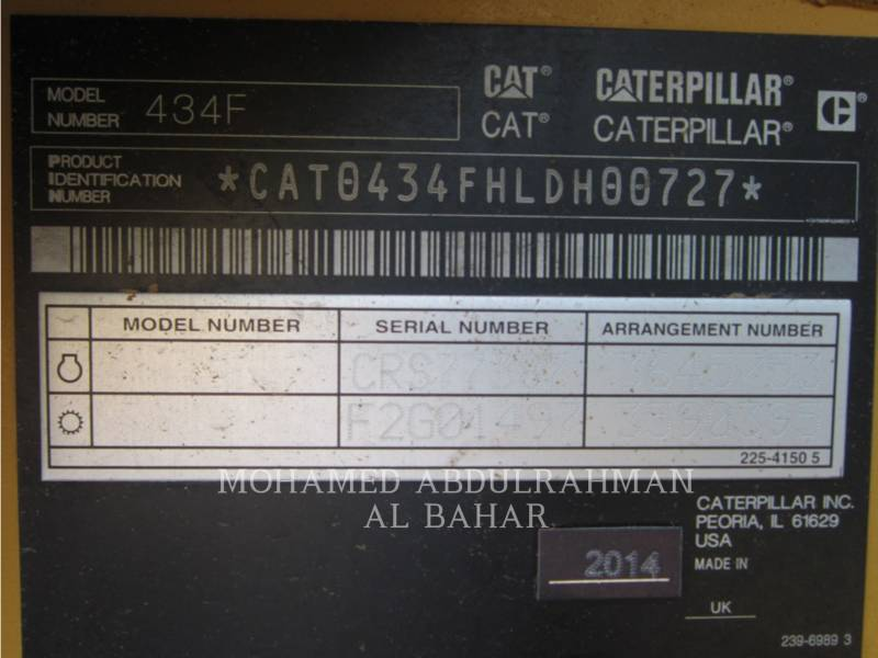CATERPILLAR BAGGERLADER 434 F equipment  photo 14