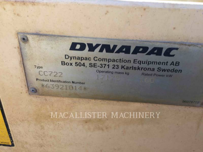DYNAPAC TAMBOR DOBLE VIBRATORIO ASFALTO CC722 equipment  photo 15