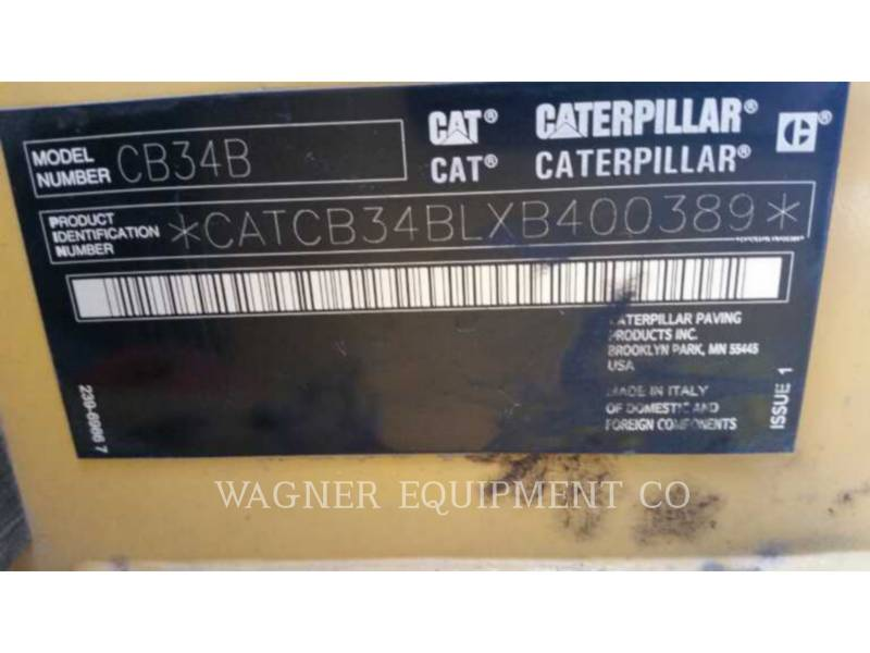 CATERPILLAR COMPATTATORE PER ASFALTO A DOPPIO TAMBURO VIBRANTE CB34B equipment  photo 6