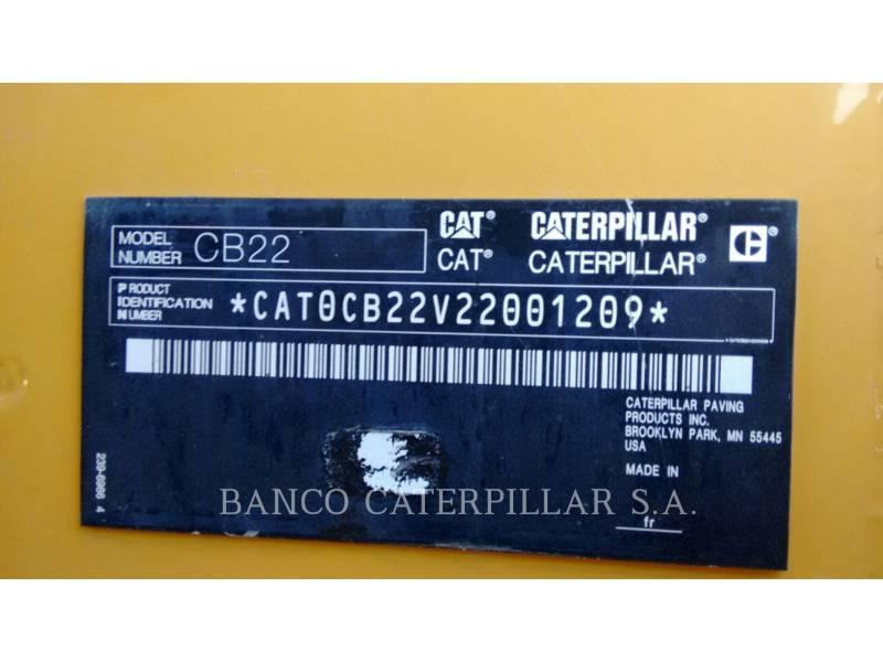 CATERPILLAR VIBRATORY DOUBLE DRUM ASPHALT CB22 equipment  photo 5