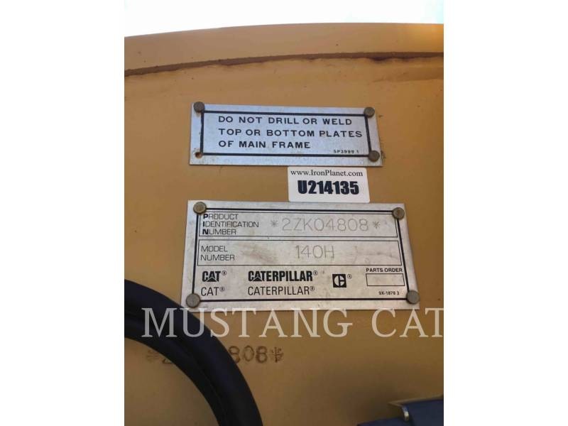 CATERPILLAR MOTORGRADER 140HNA equipment  photo 9