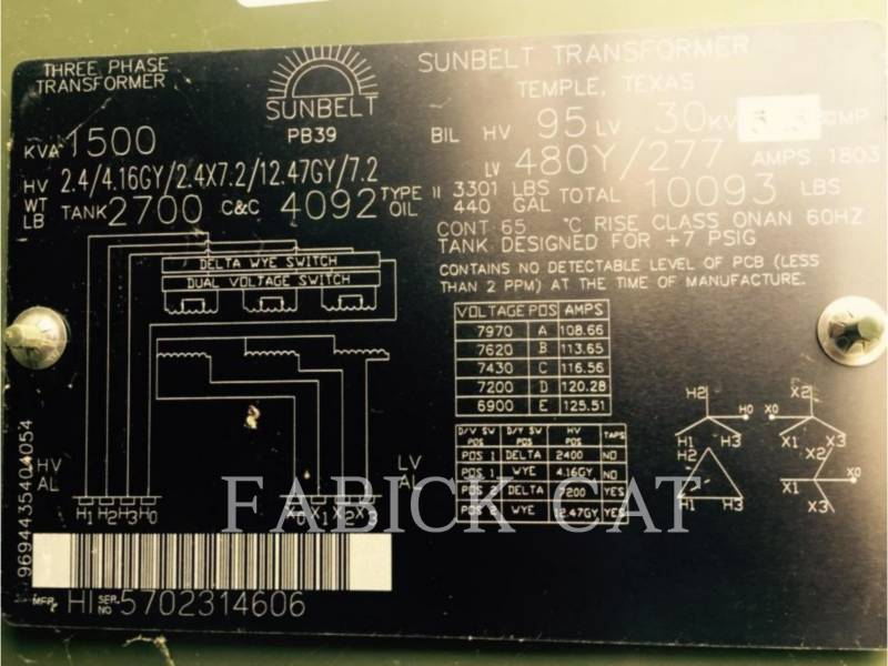 OTHER US MFGRS STROMERZEUGER SUNBELT TRANSFORMER XF1500 equipment  photo 1