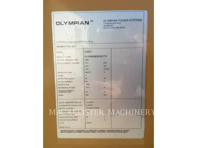OLYMPIAN STATIONARY GENERATOR SETS G30F3 equipment  photo 10