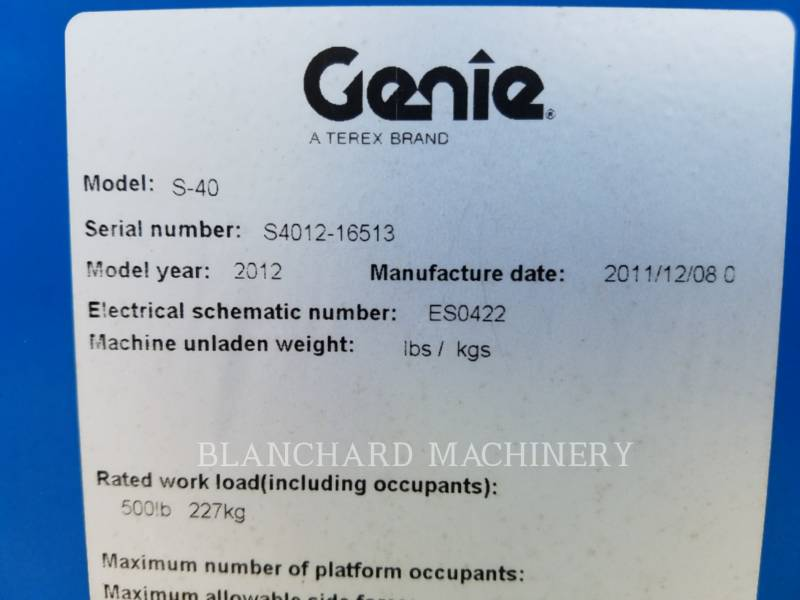 GENIE INDUSTRIES LEVANTAMIENTO - PLUMA S-40 equipment  photo 8
