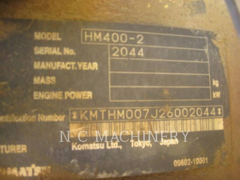 KOMATSU ARTICULATED TRUCKS HM400-2 equipment  photo 5
