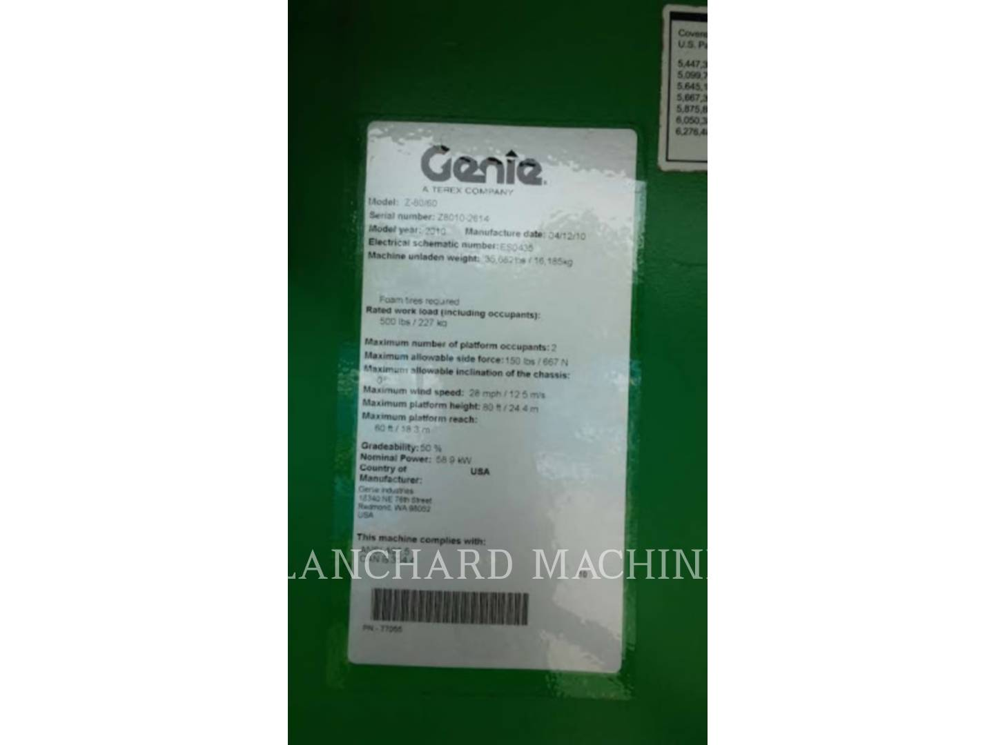 Detail photo of 2010 Genie Z80/60JRT from Construction Equipment Guide