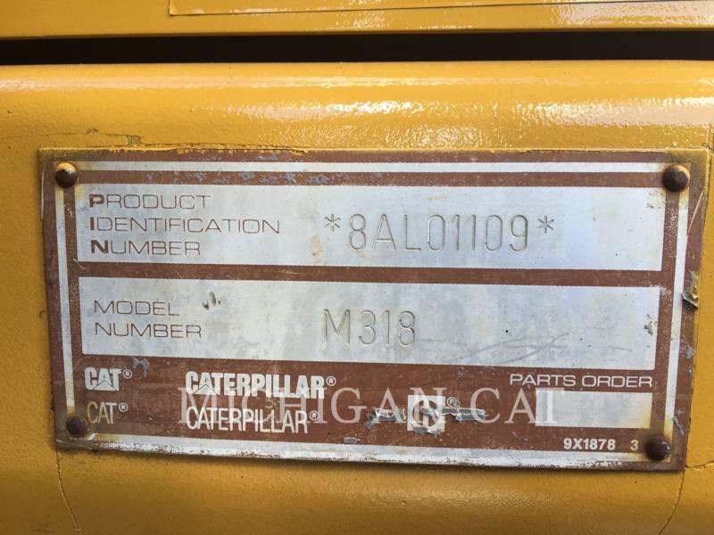 CATERPILLAR PELLES SUR PNEUS M318 equipment  photo 12
