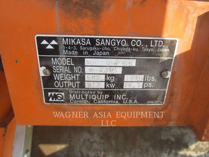 MULTIQUIP VIBRATORY TANDEM ROLLERS MRH800GS equipment  photo 2