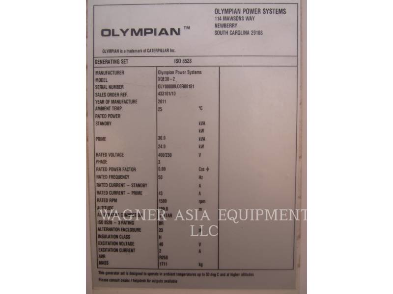 OLYMPIAN CAT STATIONARY GENERATOR SETS XQE30-2 equipment  photo 2