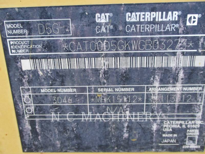 CATERPILLAR TRACK TYPE TRACTORS D5G XLCN equipment  photo 8