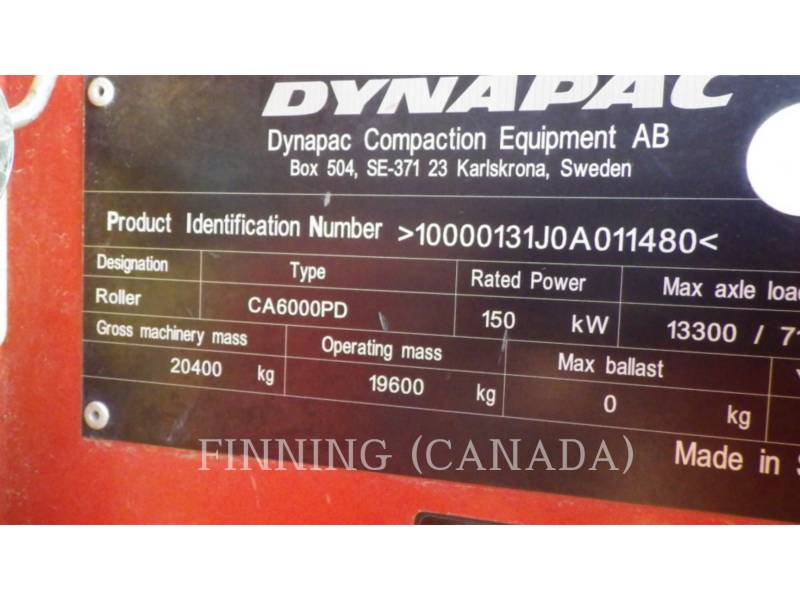 DYNAPAC COMPACTORS CA6000PD equipment  photo 18