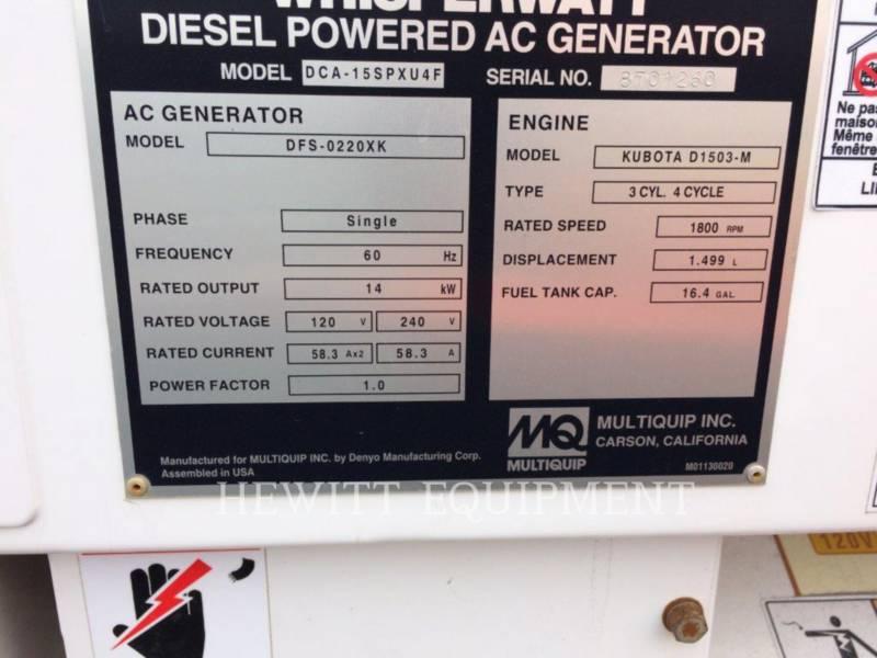 MULTIQUIP PORTABLE GENERATOR SETS XQ15 equipment  photo 3