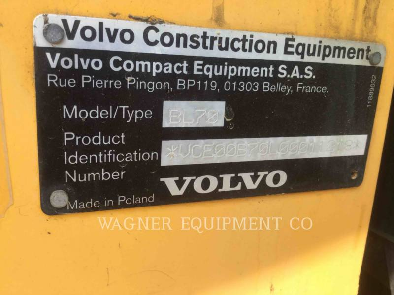 VOLVO CONSTRUCTION EQUIPMENT BACKHOE LOADERS BL70 equipment  photo 5