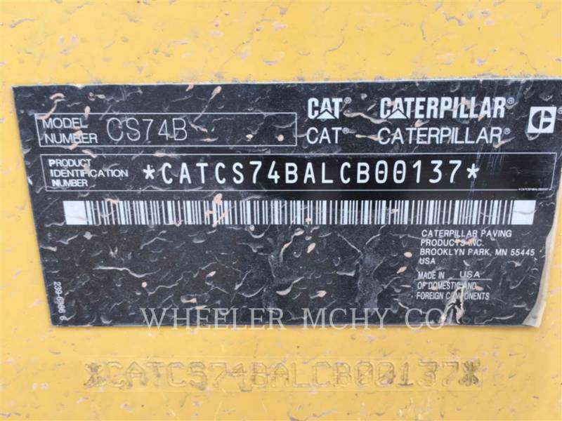 CATERPILLAR COMPACTEUR VIBRANT, MONOCYLINDRE LISSE CS74B equipment  photo 6