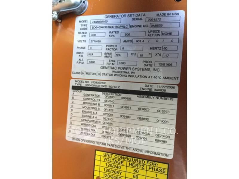 GENERAC STATIONARY - DIESEL (OBS) 0A8829EP equipment  photo 16