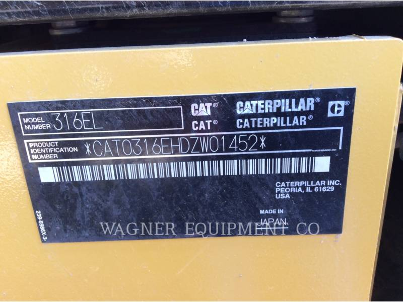 CATERPILLAR PELLES SUR CHAINES 316EL equipment  photo 5