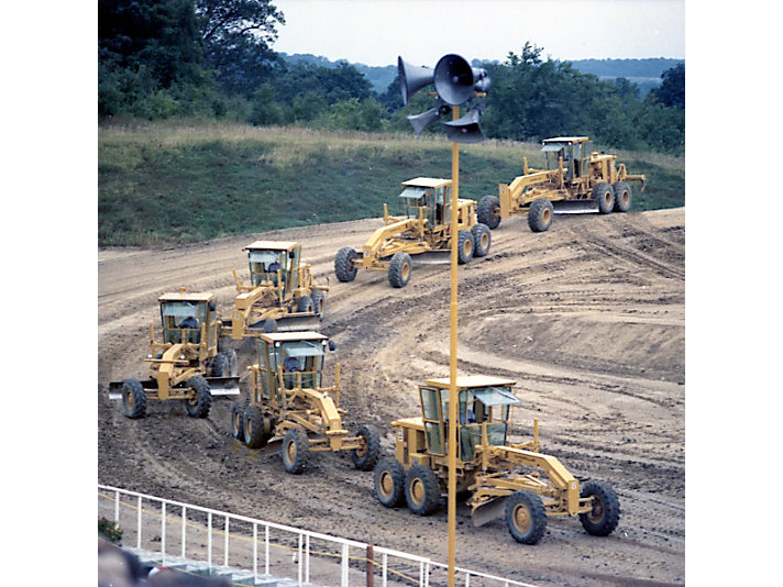 Motor Graders in perfect formation in 1978