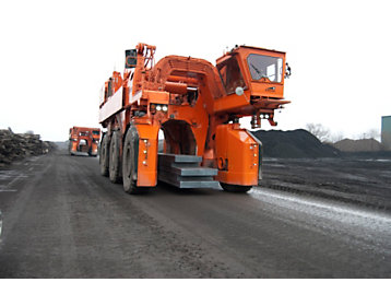 One of ArcelorMittal Dofasco's Kress Straddle Carriers—powered by a Cat® C13 ACERT™ engine