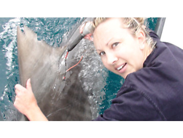 Bonnie Holmes avec 'Gennie «la photographie de requin