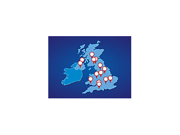 Map of FG Wilson dealers in the United Kingdom and Ireland