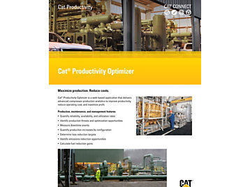 Cat® Productivity Optimizer is a web-based application that delivers advanced compressor production analytics to improve productivity, reduce operating cost, and maximize profit.