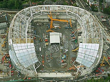 Le stade Aviva de Dublin sous la photo de la construction