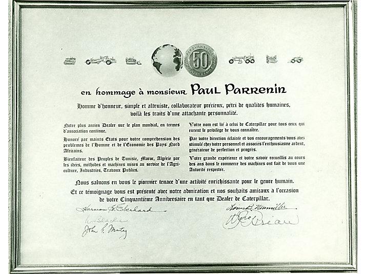 Paul Parrenin 从1912年就成为Holt 卡特彼勒代理商