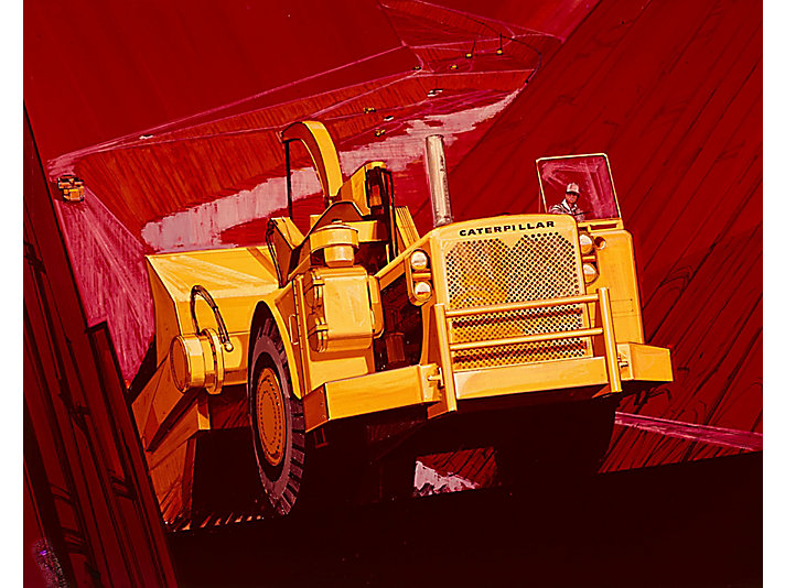 Artwork featuring Caterpillar wheel tractor-scrapers.