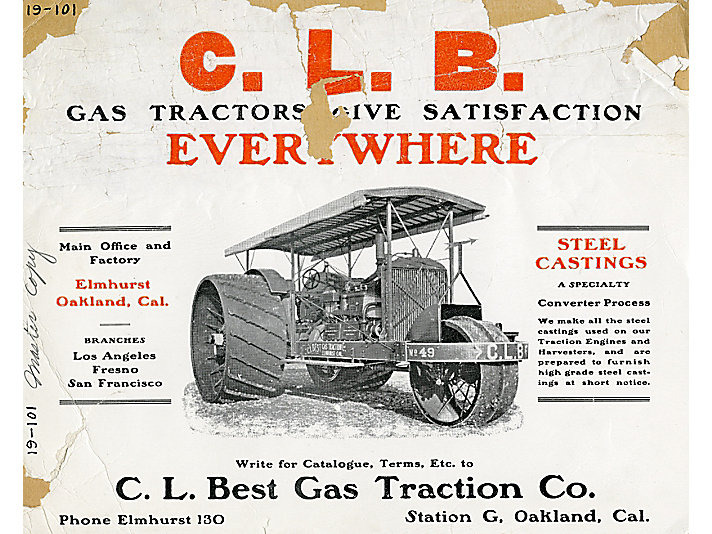 C. L. Best Gas Traction Co. round wheel tractor advertisement.