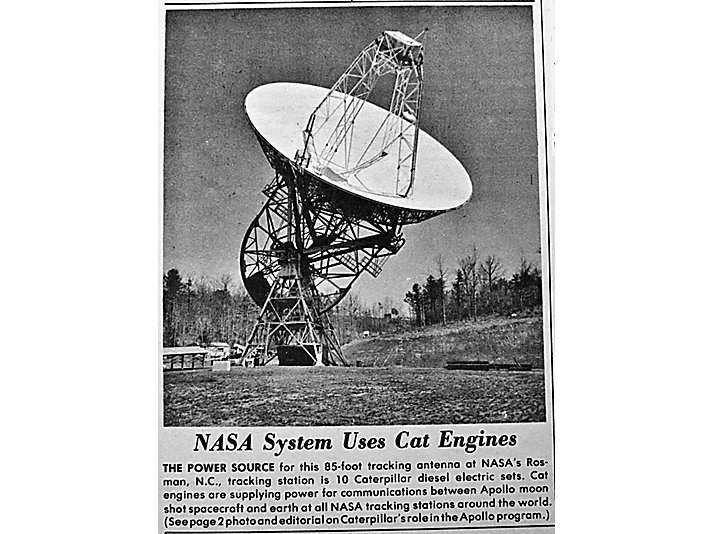 Newspaper clipping describing the Caterpillar diesel engine sets being used for NASA's tracking stations.