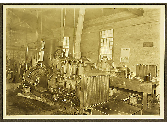 Holt employees testing engines at the East Peoria Plant, ca. 1916.