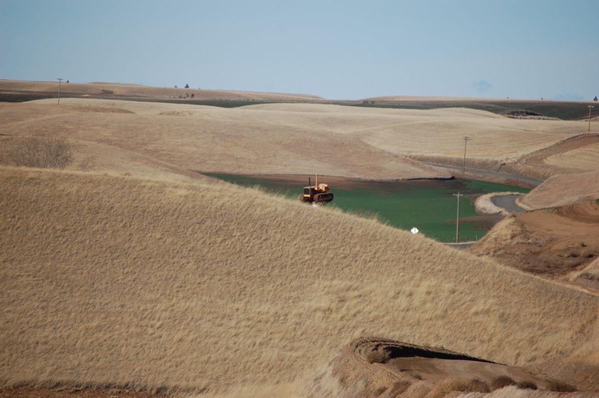 From some vantage points, the 1946 Cat<sup>®</sup> D6 erected above the Miller farm appears to be floating over The Palouse.