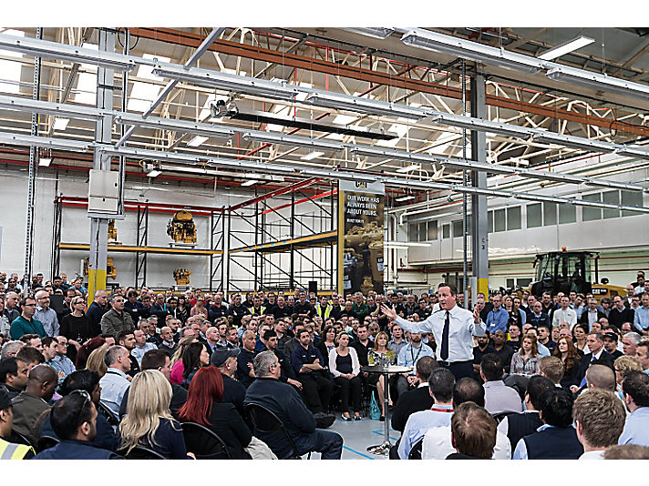 Prime Minister David Cameron visits Caterpillar's facility in Peterborough for a PM Direct Q+A with 2,000 employees.